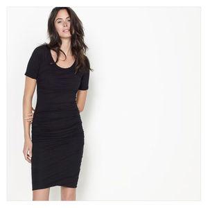 James Perse Ruched Raglan Short Sleeve Dress